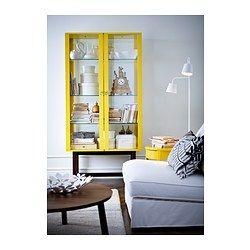 STOCKHOLM Skåp med glasdörrar - gul - IKEA
