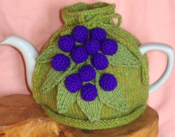 hand knitted purple grapes tea cosy by peerietreisures on Etsy