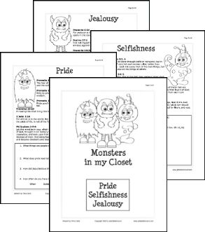 "Ladies Ministry:  ""Monster"" Lesson Handouts and Monster Behavior Word Search.  Monsters in the handouts are Pride, Selfishness, and Jealousy.  The Word Search would be good for Halloween or Fall Parties too."