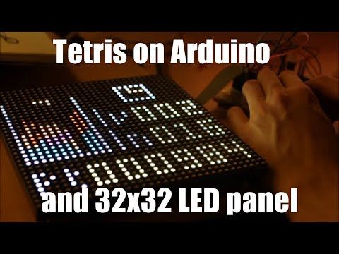 A Tetris game for Arduino Uno and a 32x32 LED matrix panel  Find