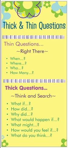 Thick vs. Thin Questions Bookmark Good reminder for higher order thinking questions! #West Music #Inspires my Class