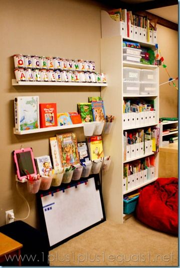 homeschool room ideas | This awesomely organized space is from 1plus1plus1equals1.net . She ...