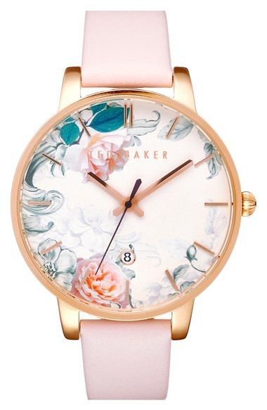 Ted Baker Round Dial Leather Strap Watch, 40mm