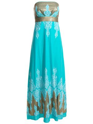 TURQUOISE BLUE WHITE GOLD SEQUIN MAXI DRESS