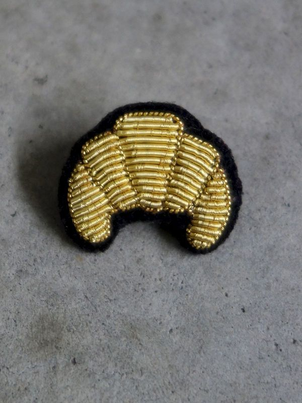 Hand Embroidered Croissant Brooch by Macon & Lesquoy