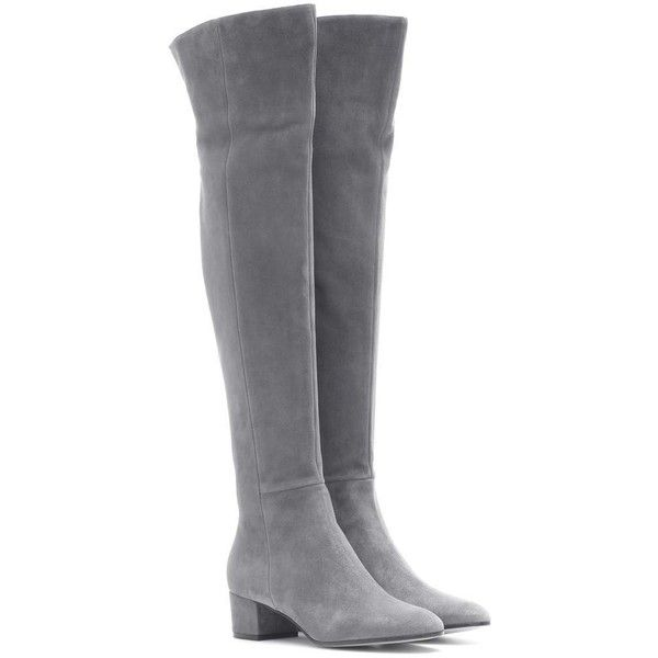 Gianvito Rossi Rolling Over-the-Knee Boots ($1,495) ❤ liked on Polyvore featuring shoes, boots, grey, gray thigh high boots, grey boots, over the knee suede boots, thigh boots and over the knee boots