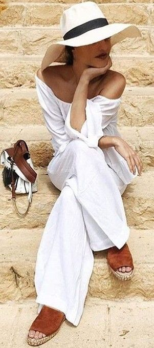 #summer #hot #weather #outfits | White + Pop Of Camel