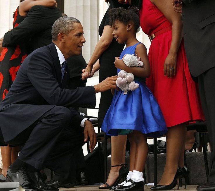 "sierracuse: "" youngblackandvegan: "" accras: "" President Obama talks with Yolanda Renee King, 5, granddaughter of Martin Luther King Jr., Aug. 28, 2013. "" she has his eyes "" GRANDDAUGHTER"