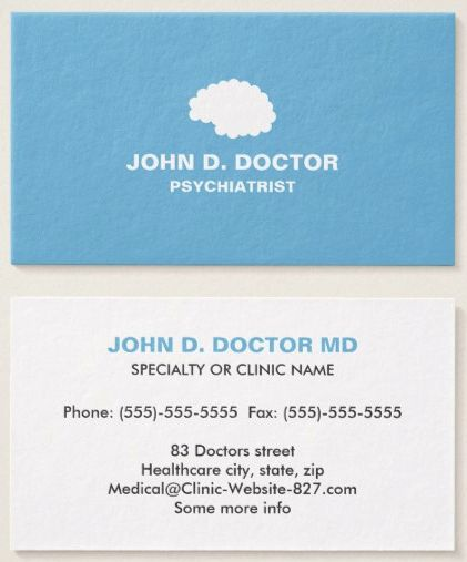 54 best medical business cards images on pinterest business cards modern blue psychiatrist business card with brain colourmoves
