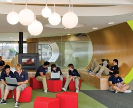 This is an example of  a space that is being utilized for small group work. There are a multitude of choices that can be made with many companies willing to help design and sell furnishings and technology to assist. The main point however is to always remember that the students must be at the center of the learning environment.