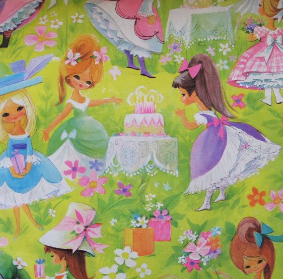 Vintage Gift Wrap Wrapping Paper MOD GIRLS Birthday Party 1960s