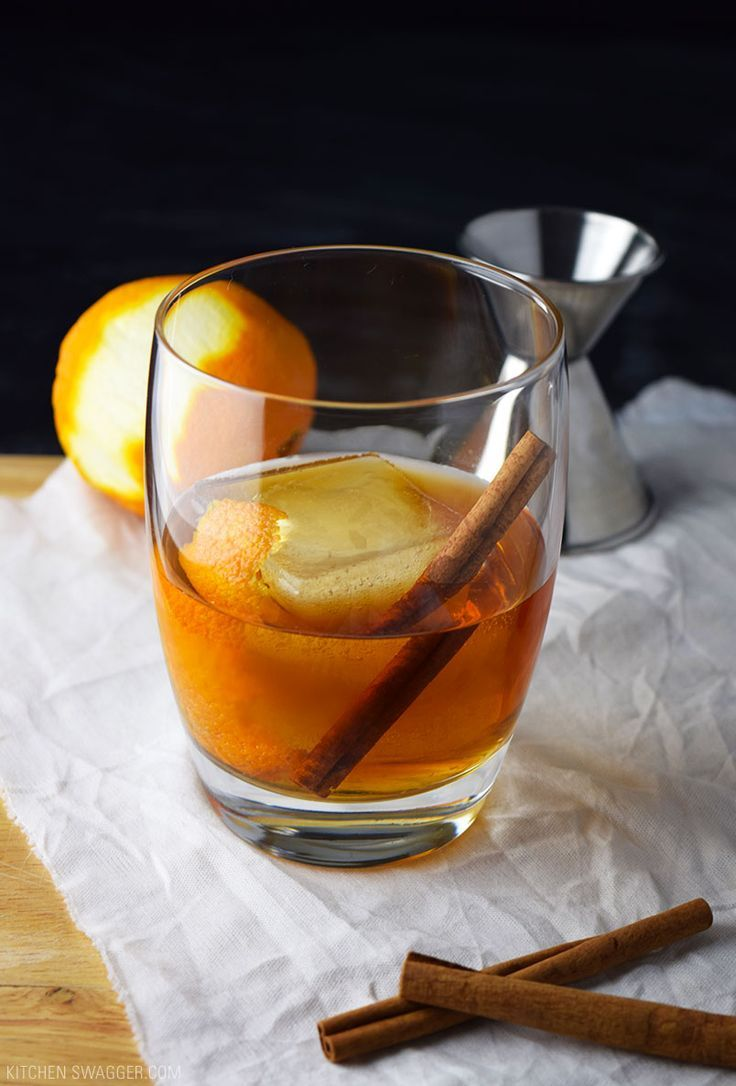 Applejack Fall old fashioned is a seasonal spin on the old fashioned, made with Applejack brandy, maple syrup, orange, and cinnamon.