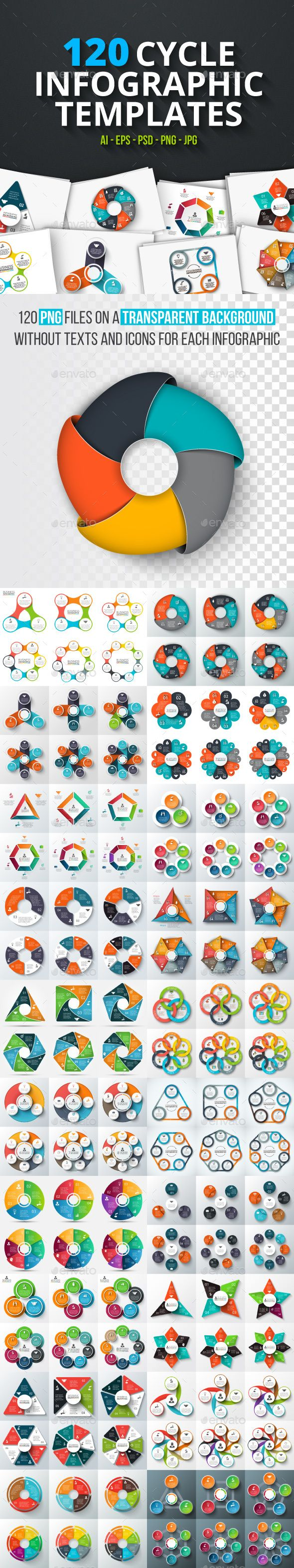 120 cycle infographics — Photoshop PSD #background #data • Available here ➝ https://graphicriver.net/item/120-cycle-infographics/20740898?ref=pxcr