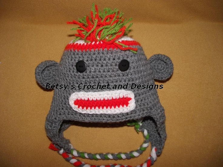 $20  0-4 years  Mohawk sock monkey hat. All colors are available. Or just get a sock monkey hat without the hair.....  Available at Betsys Crochet and Designs.... Look for me on facebook