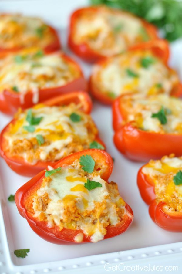 Roasted Mexican Chicken Stuffed Peppers
