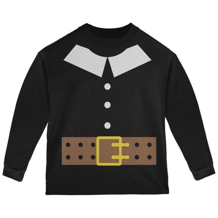 Halloween Pilgrim Costume Black Toddler Long Sleeve T-Shirt