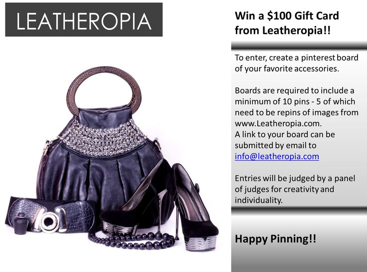Win $100 Gift Card from Leatheropia. Happy Pinning!!