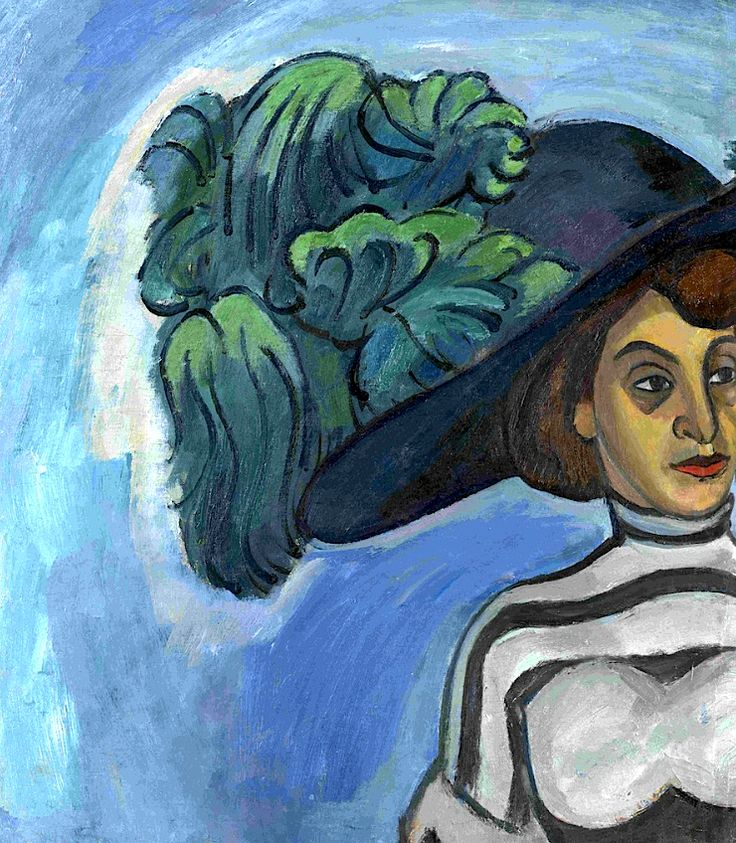 Lady in a Hat with Green Plumes Robert Falk