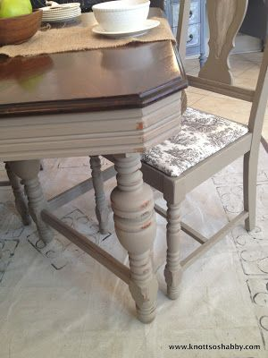 Antique William and Mary Dining Set hand painted in Chalk Paint™ CoCo with Old White in the chair inserts by Veronica of Bliss and Blossom Designs