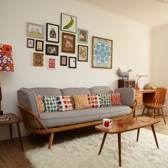 Retro living room with pretty prints