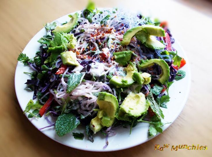 Raw Vegan Kelp Noodle Salad | Rawmunchies.org  #RECIPE HERE: http://www.rawmunchies.org/recipes #Raw #vegan #rawvegan #noodles #salads #kelp