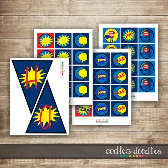 Superhero PARTY PACKAGE / Boys Birthday Party Kit / by OandD