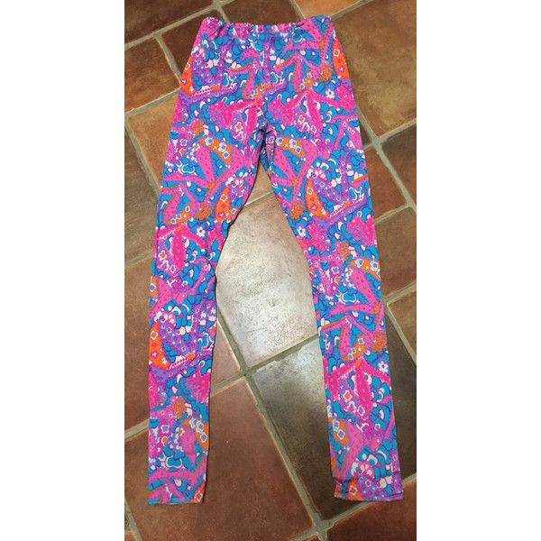 Bright 1980's leggings size 10-12 ($26) ❤ liked on Polyvore featuring pants, leggings, 1980s parachute pants, bright leggings, 80s leggings, bright pants and legging pants