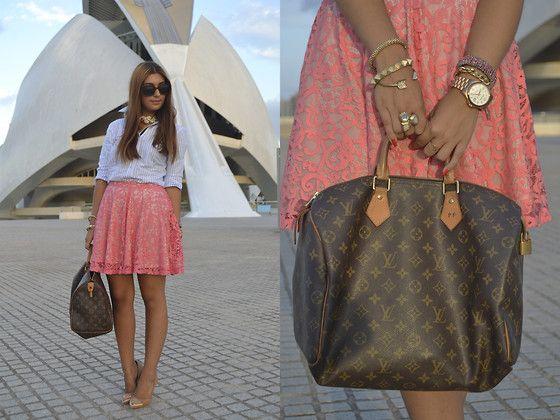 Piel De Toro Shirt, H Skirt, Louis Vuitton Bag, H Necklace, Suite Blanco Stilettos, H Bracelets, H Ring, Aristocrazy Watch