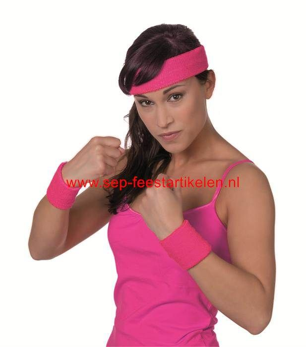 Zweetbandjes en hoofdband pink direct leverbaar! - SEP Feestartikelen