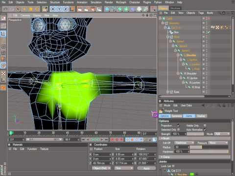 Cinema 4D Rigging 02 - Naming Tool, Bind, Weight Tool - YouTube