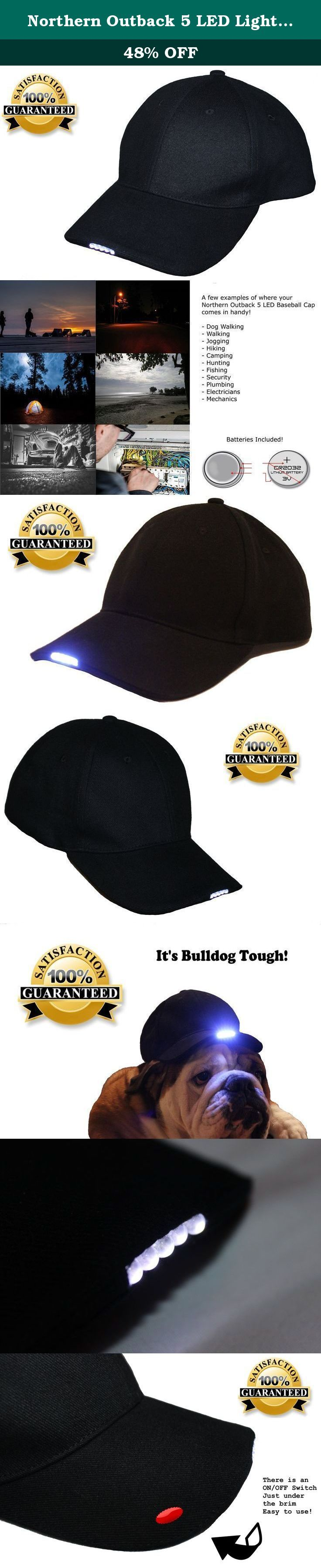 Northern Outback 5 LED Light Baseball Cap Hat - Best Hands Free Solution - Camping - Hiking - Walking - Jogging - Plumbing - Auto Mechanics - High Beam Lights - Batteries Included!. This 5 LED Baseball Cap is AMAZING! Hands free lighting everywhere you go! It's HANDY, LOOKS GREAT and what an EXCELLENT PRICE! Buy it for yourself or as a gift! What's so fantastic about our Baseball Cap? ✔ PRICE - Great quality at a low low price! ✔ STRONG - Fabricated by professionals! ✔ STYLISH - The Black...
