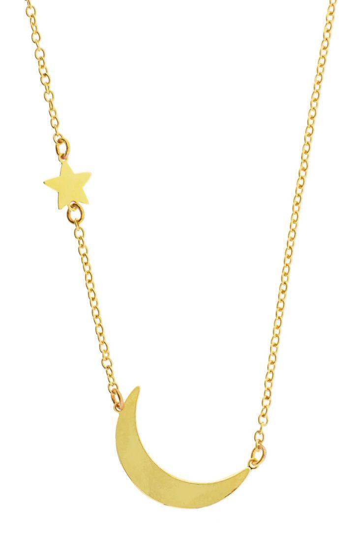 Leila Jewelry Moon & Star Charm Necklace on HauteLook