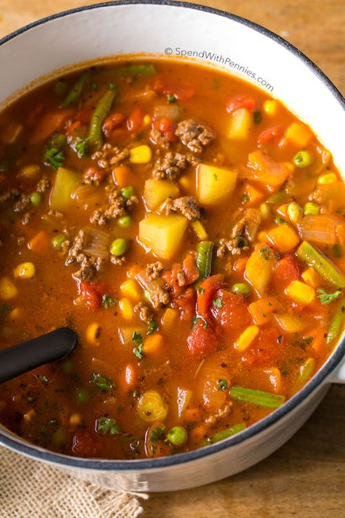 Hamburger Soup is a quick and easy meal loaded with vegetables, lean beef, diced tomatoes and potatoes. It's great made ahead of time and freezes perfectly.