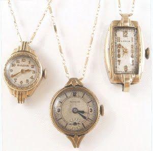 vintage watch face necklaces