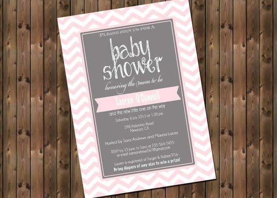 Pink and Gray Baby Shower Chevron Invitation by RockStarPress, $12.00