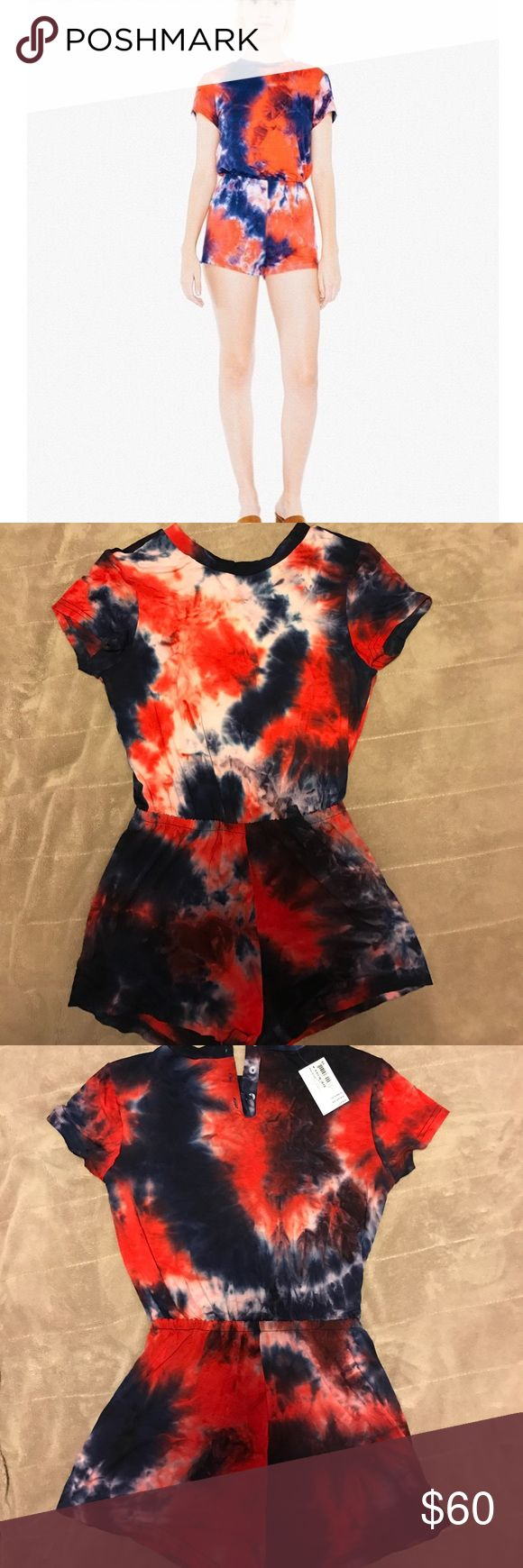 American Apparel Tye Dye tshirt romper Tshirt romper from AA, size XS. The online pic shows orange/blue. When I got to the store it is actually red/blue American Apparel Pants Jumpsuits & Rompers