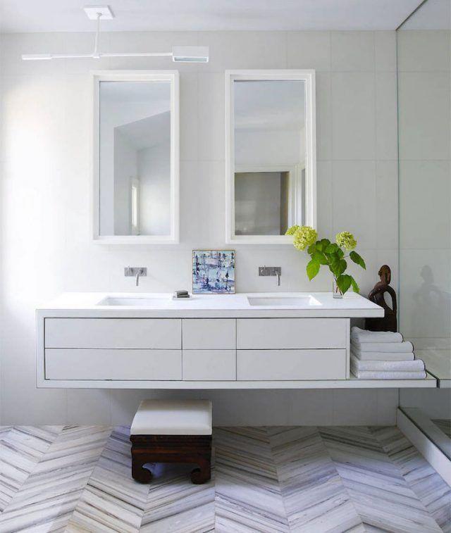 astuce rangement salle de bain moderne-meuble-suspendu