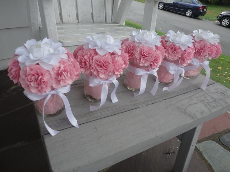 Paper Peony Centerpieces Paper Carnation Wedding Shower Centerpiece. $160.00, via Etsy.