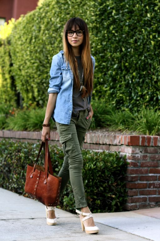 Denim jacket, black top, green jeans, nude heels