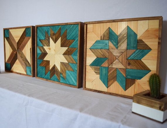 Wood wall art turquoise bundle tryptic set of three star for Wood wall art