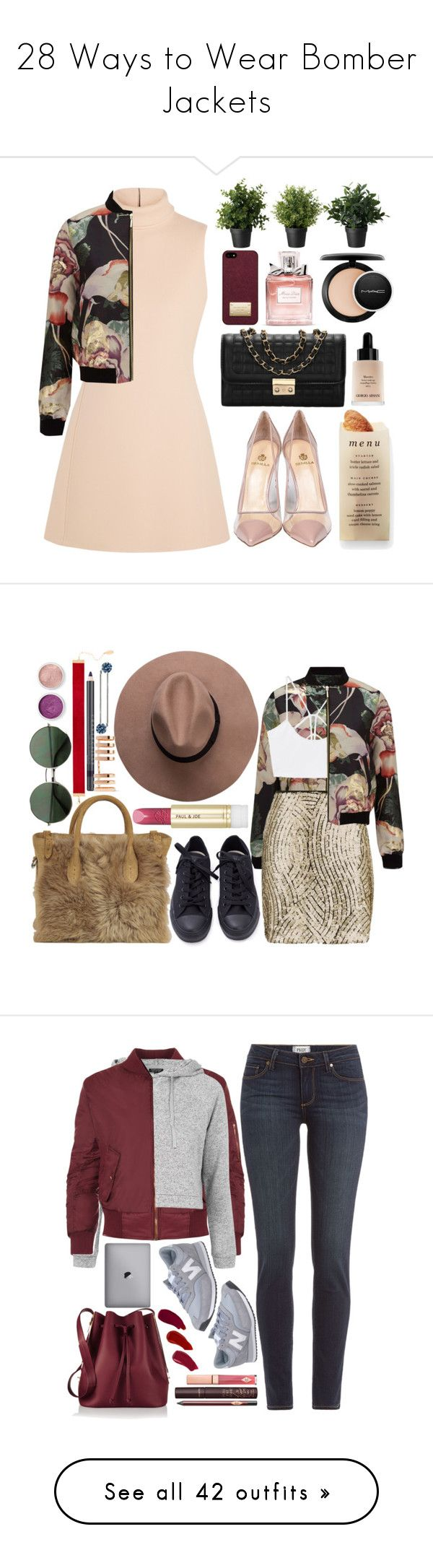 """28 Ways to Wear Bomber Jackets"" by polyvore-editorial ❤ liked on Polyvore featuring bomberjackets, waystowear, Calvin Klein Collection, Miss Selfridge, Martha Stewart, Christian Dior, Giorgio Armani, Semilla, Michael Kors and MAC Cosmetics"