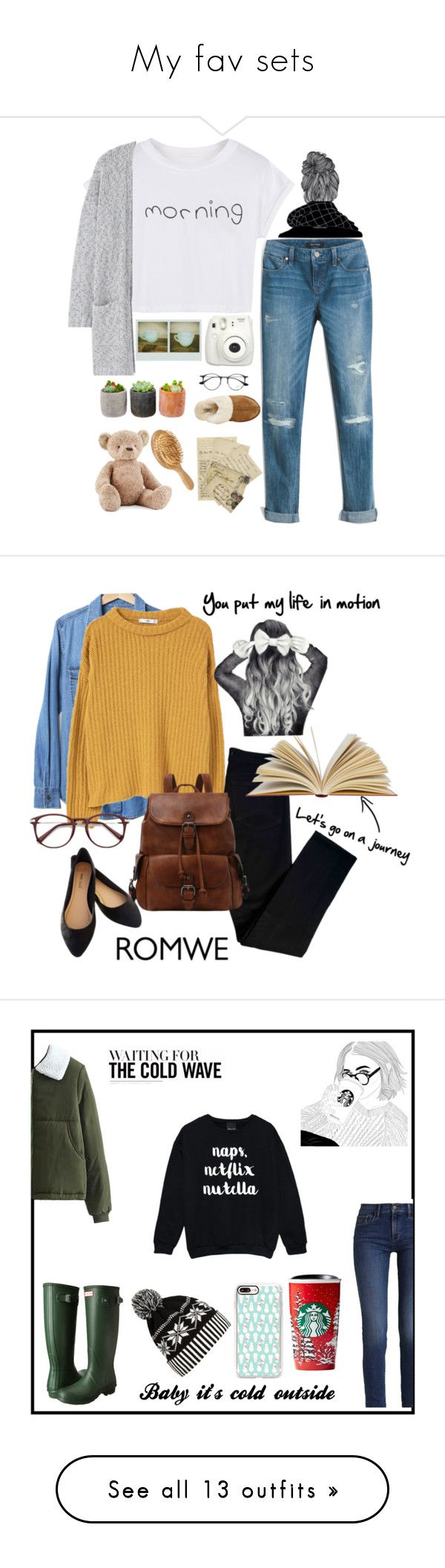 """""""My fav sets"""" by grantaire1832 ❤ liked on Polyvore featuring White House Black Market, WithChic, MANGO, Ray-Ban, Fujifilm, UGG, Shop Succulents, Jellycat, Gap and J Brand"""