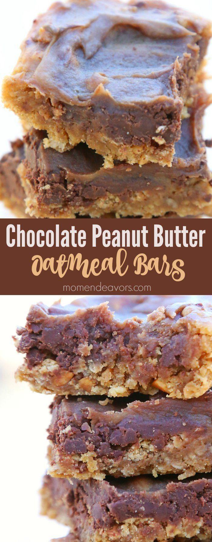 Chocolate Peanut Butter Oatmeal Bars - SO good!!