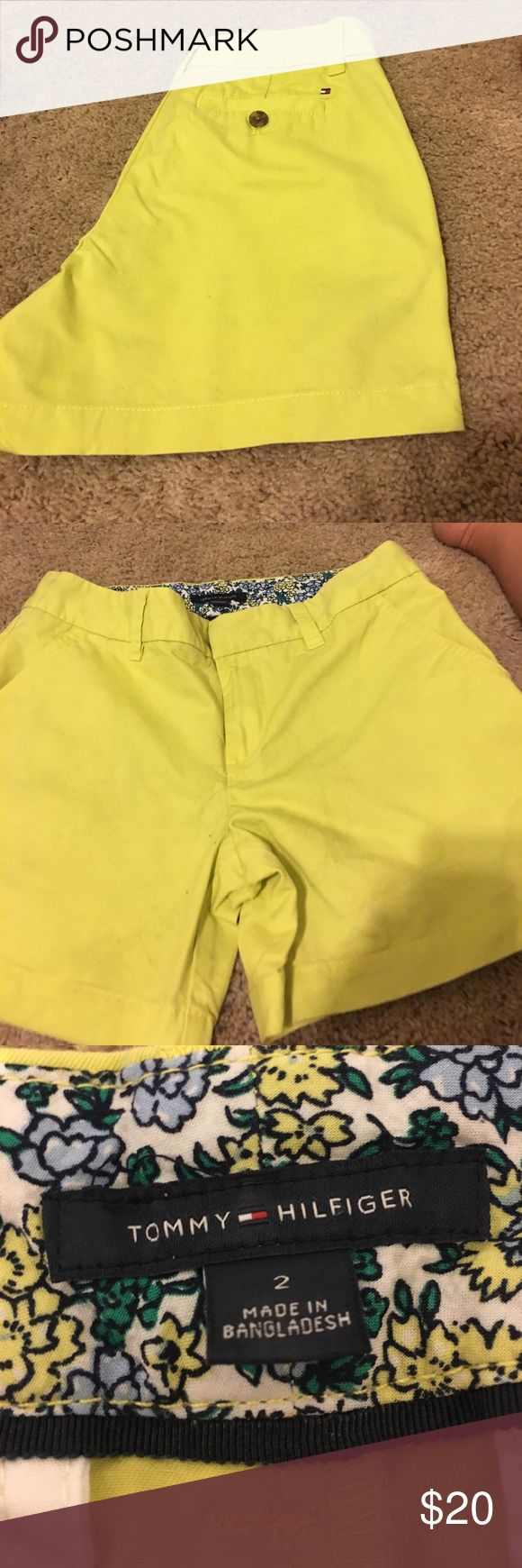 Shorts by Tommy Hilfiger size 2 lime green Tommy Hilfiger shorts size 2 lime green/ yellow color pockets on front and back NWOT very cute shorts Tommy Hilfiger Shorts