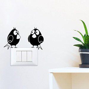 Adesiviamo® Oiseaux dessinées Comic Birds Sticker autocollant pour commutateur, broche, une plaque – Light Switch Sticker