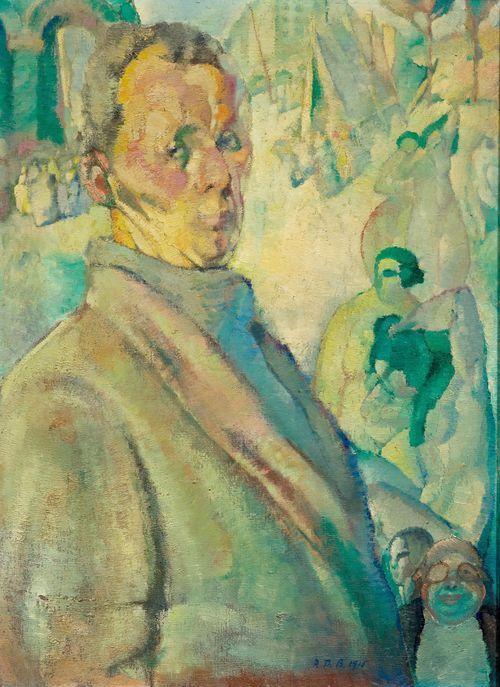 RODOLPHE THEOPHILE BOSSHARD (Morges 1889 - 1960 Chardonne) - Autoportrait avec figures, 1915 - Huile sur toile, 81 x 60 cm