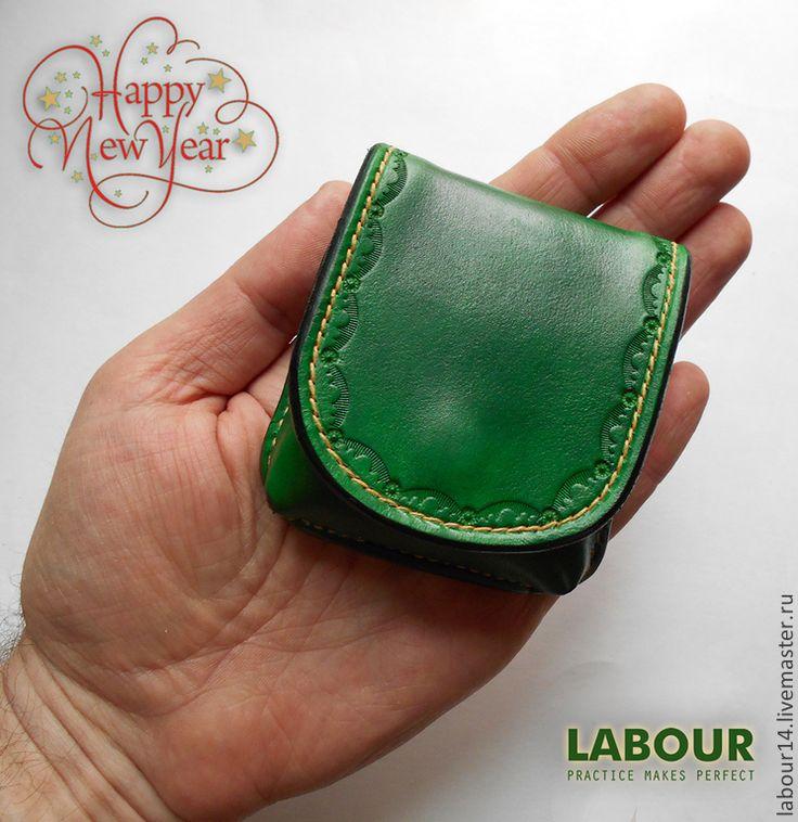 Купить Кошелек для мелочи, монетница - тёмно-зелёный, латунная фурнитура, натуральная кожа, labour, хэритэйдж