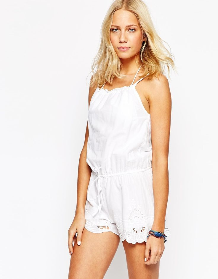 Image 1 of Oysho Embroidered Lace Trim Beach Romper