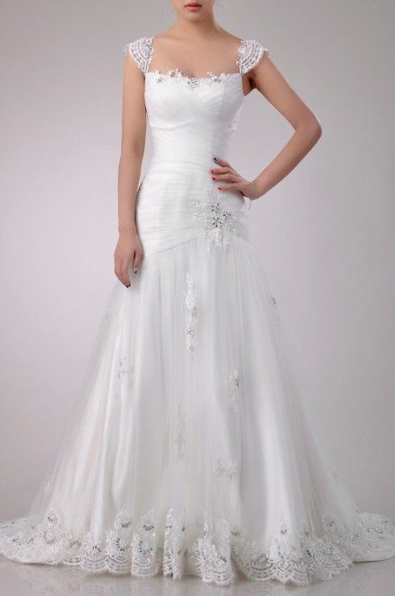 Sleeved A Line Wedding Dress with Straps Price : $479.99 Free Shipping!