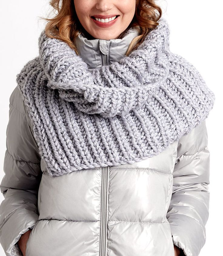Free Knitting Pattern for Cozy Polar Cowl - This shoulder cozy is knit flat in ribbing and seamed leaving an opening along shoulder. Approx. 20″ deep x 40″ around. Quick knit in super bulky yarn. I think this would be suitable for beginners comfortable with ribbing.